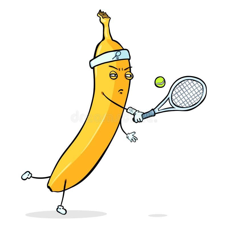 传染媒介漫画人物-打网球的黄色香蕉 向量例证