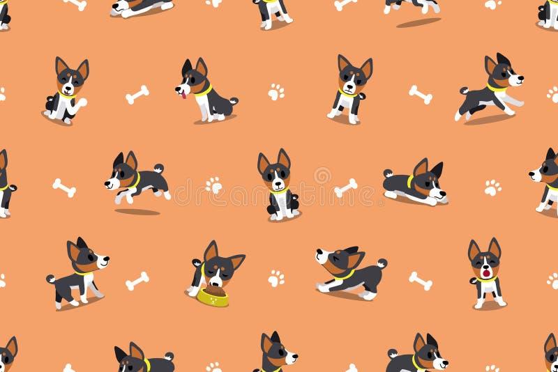 传染媒介漫画人物basenji狗无缝的样式 库存例证