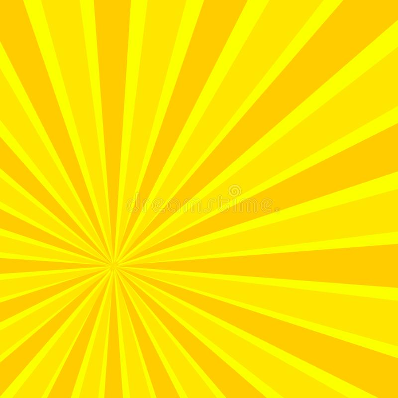传染媒介漫画太阳光芒,明亮的黄色背景 皇族释放例证