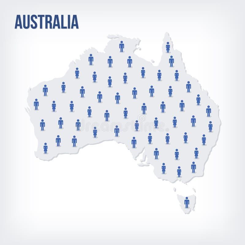 传染媒介澳大利亚的人地图 人口的概念 皇族释放例证