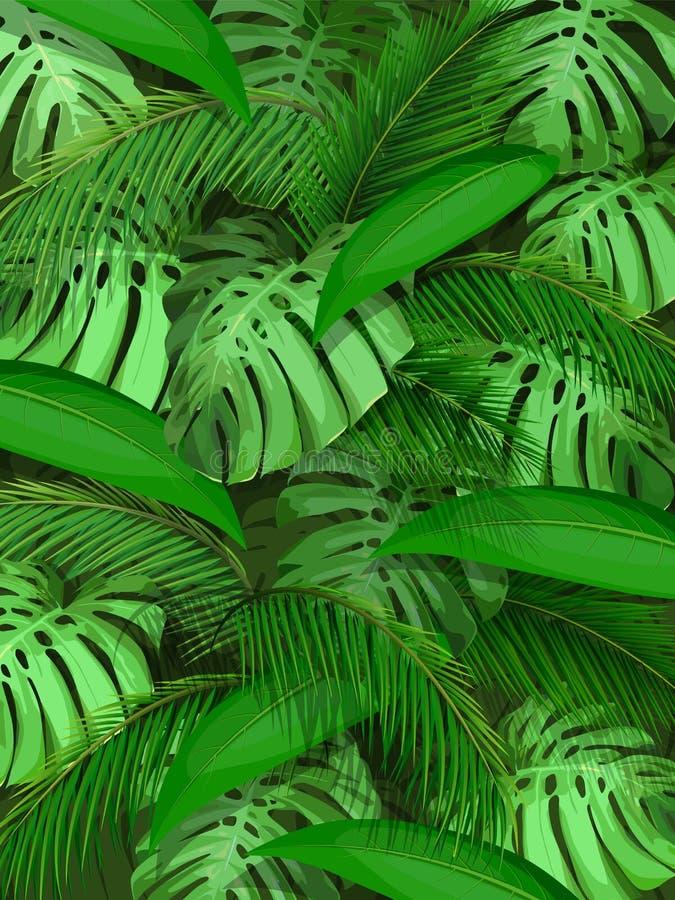 传染媒介热带叶子背景 皇族释放例证