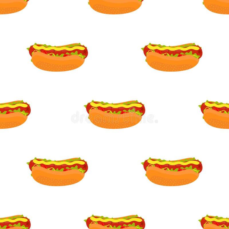传染媒介热狗无缝的样式 烟熏腊肠快餐 动画片平的样式 皇族释放例证