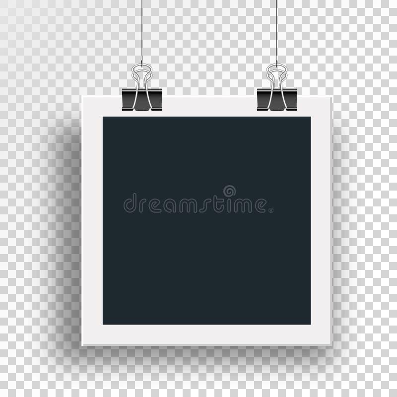 传染媒介照片框架被夹紧的黏合剂夹子 皇族释放例证