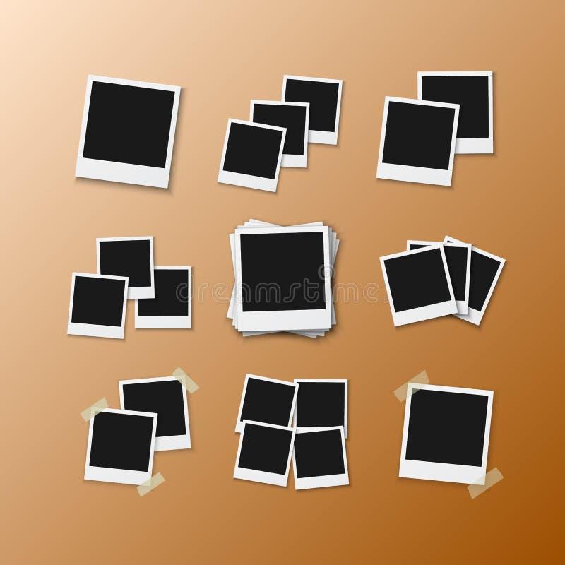 传染媒介照片框架 现实在透明背景隔绝的传染媒介立即照片框架快照 向量例证