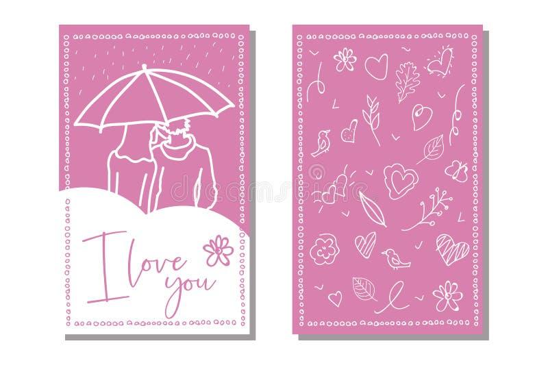 传染媒介爱卡片模板 手拉的标签或海报 E 向量例证