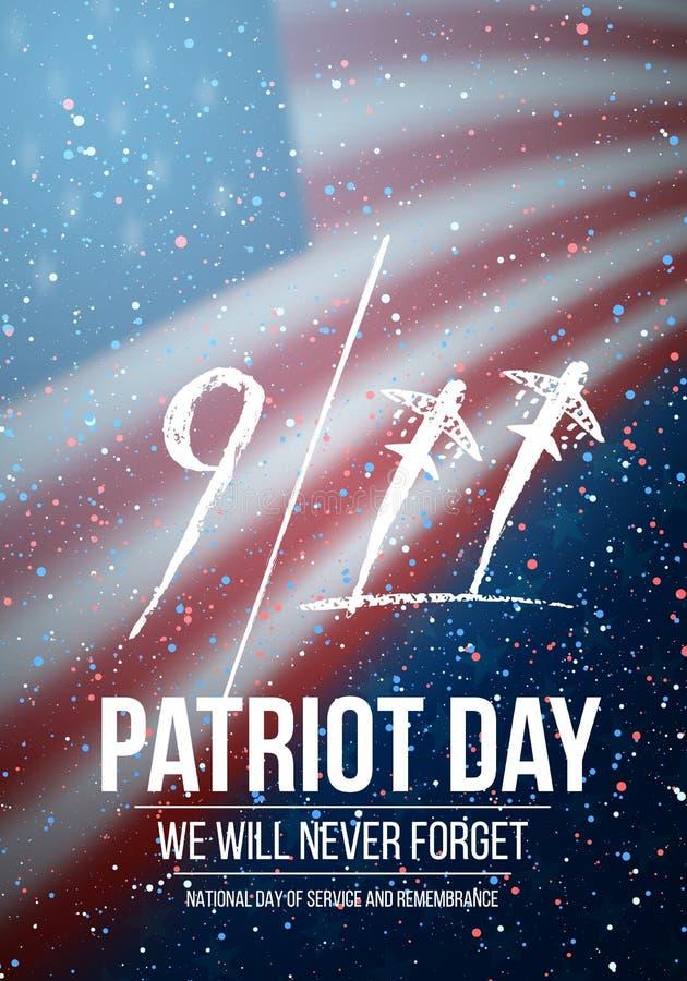 传染媒介爱国者天海报 9月11日在美国国旗背景的悲剧海报 库存例证