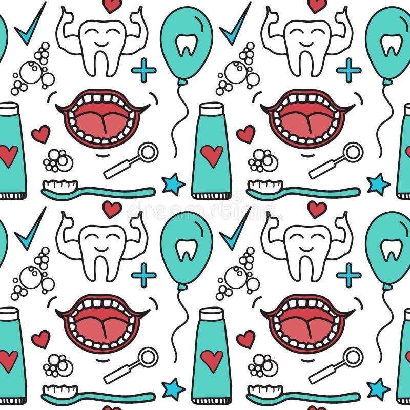 传染媒介牙齿保护无缝的样式 孩子的集合符号在动画片样式 库存例证