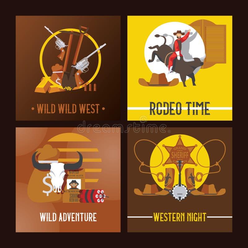传染媒介狂放的西部牛仔卡片设计 模板有益于印刷品和网 向量例证