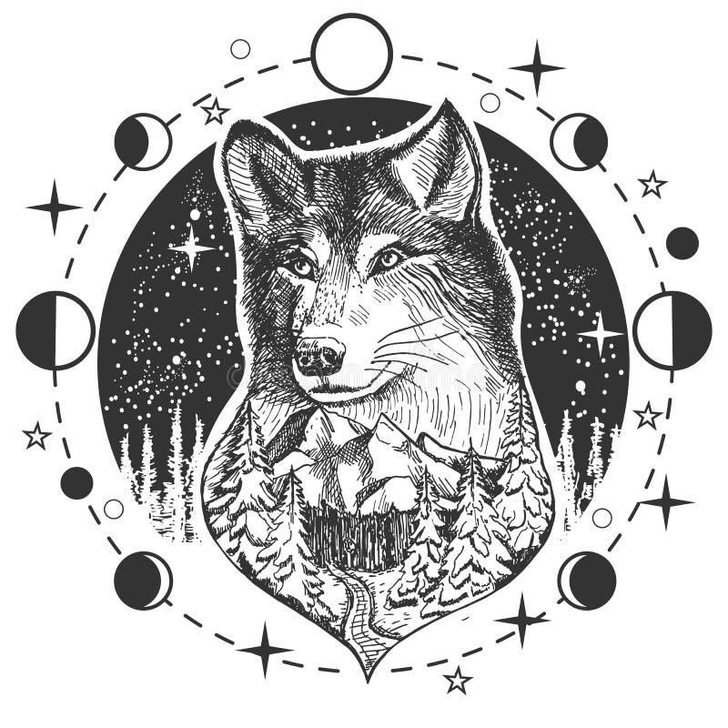 传染媒介狼头纹身花刺或T恤杉印刷品设计 库存例证