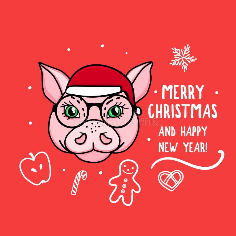 传染媒介猪年的字符标志与玻璃的 快活的圣诞节 与在红色隔绝的逗人喜爱的动物头的卡片 手 向量例证