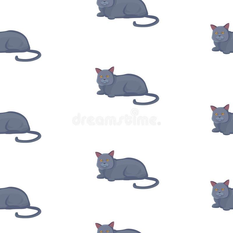 传染媒介猫无缝的样式 在动画片样式的逗人喜爱的黑小猫 库存例证