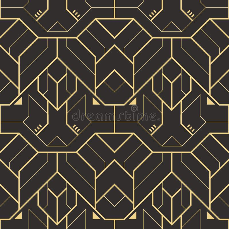 传染媒介现代几何瓦片样式 金黄线形 抽象无缝的豪华背景 向量例证
