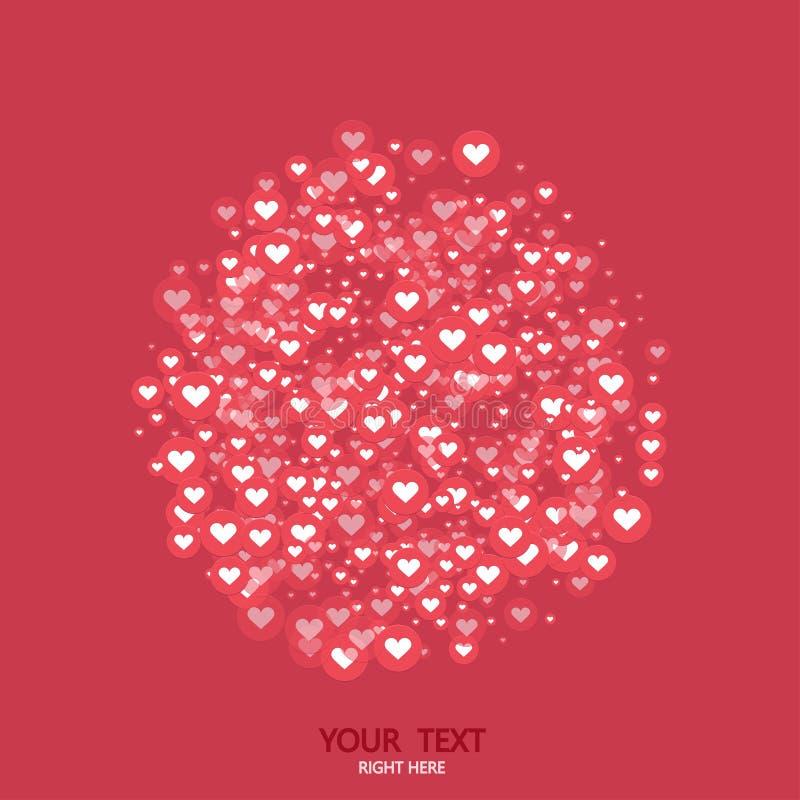 传染媒介现代圈子喜欢心脏象背景 社会媒体概念 情人节邀请 库存例证