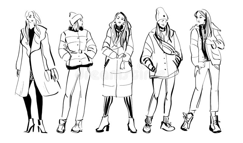 传染媒介现代少女模型的时尚例证在春天秋天在白色背景隔绝的布料收藏的 拉长的现有量 向量例证