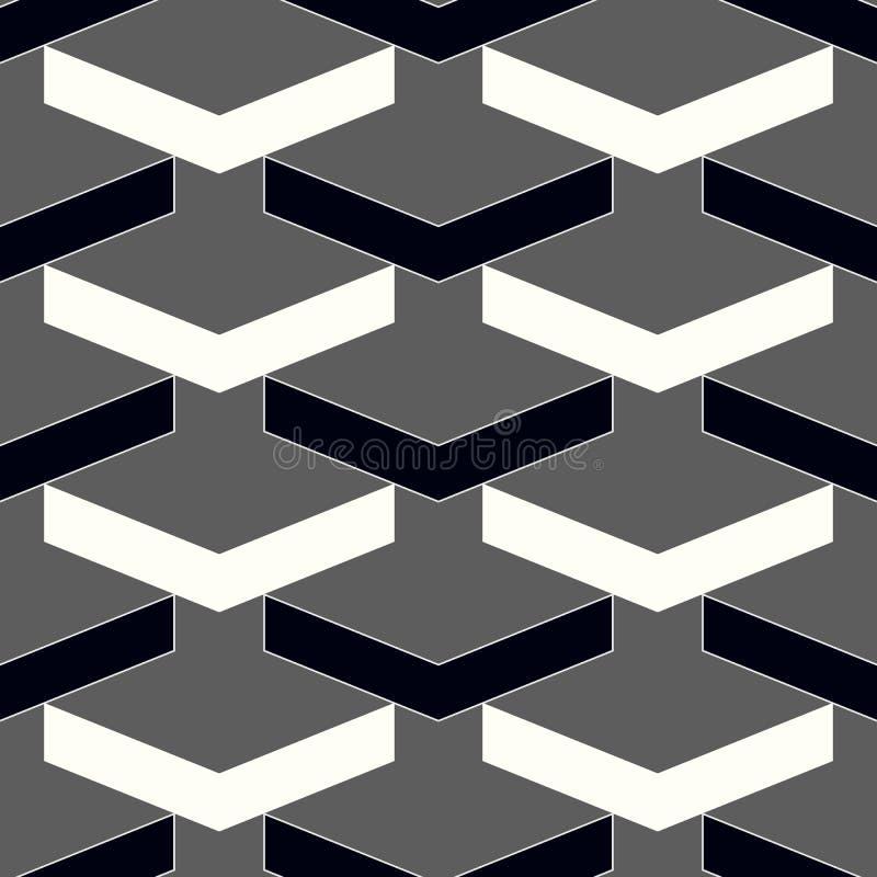 传染媒介现代无缝的几何样式V形臂章,黑白抽象几何背景,微妙的枕头印刷品,单色稀土 库存例证