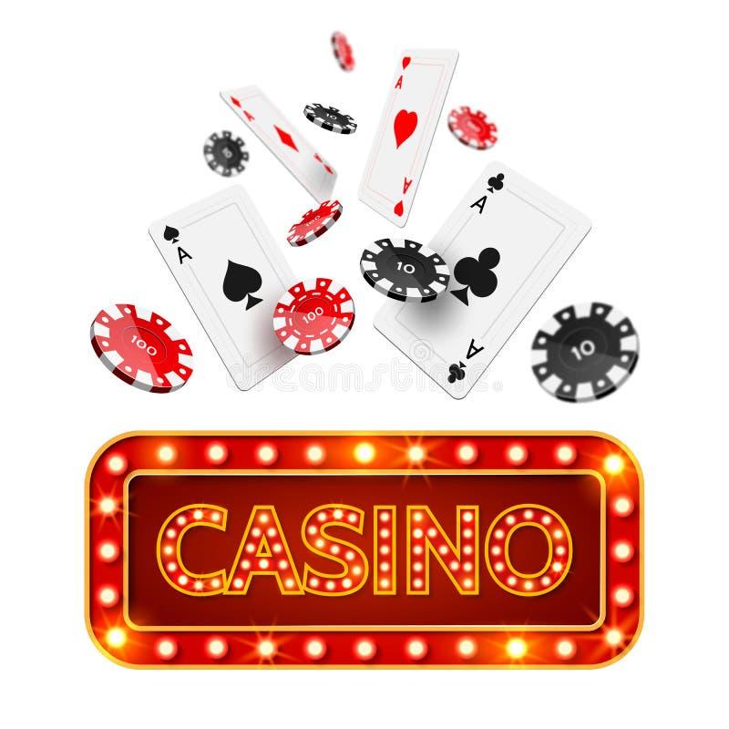 传染媒介现实啤牌赌博娱乐场海报 向量例证