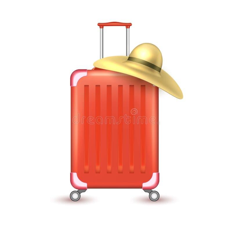 传染媒介现实旅行手提箱袋子假期 库存例证