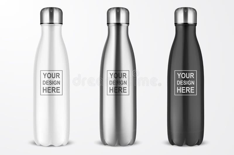 传染媒介现实有银色桶盖集合特写镜头的3d白色,银色和黑空的光滑的金属可再用的水瓶 库存例证