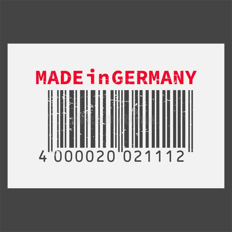 传染媒介现实条形码德国制造在黑暗的背景 库存例证
