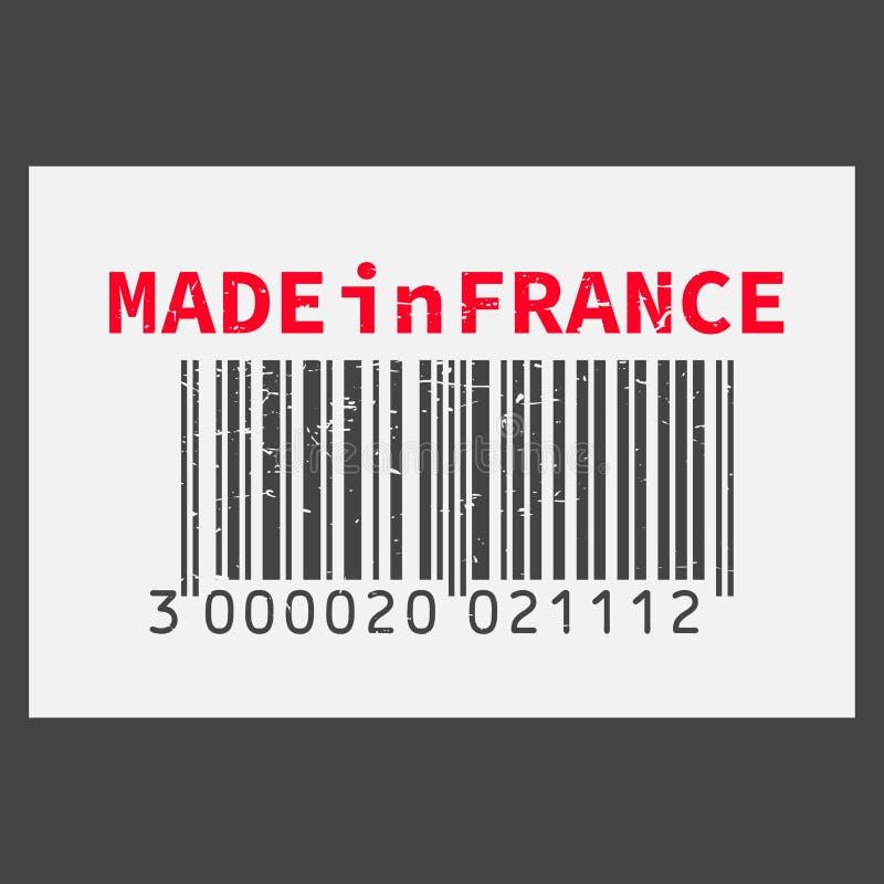 传染媒介现实条形码法国制造在黑暗的背景 库存例证