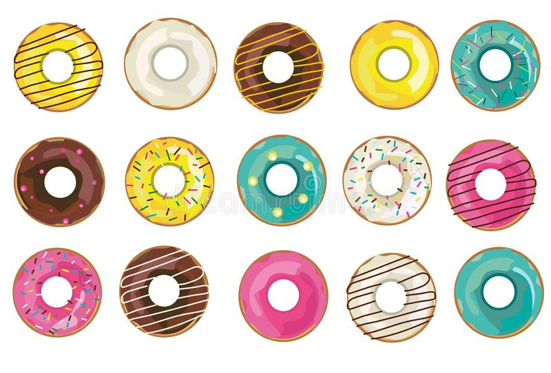 传染媒介现实油炸圈饼汇集,集合 在白色背景的被隔绝的对象 向量例证
