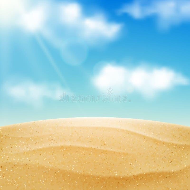 传染媒介现实海滩风景 黄沙沙漠和蓝天与云彩 暑假背景 向量例证