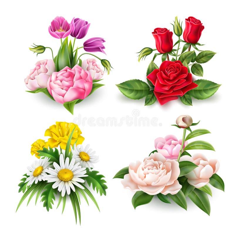 传染媒介现实玫瑰色郁金香雏菊牡丹花束 库存例证