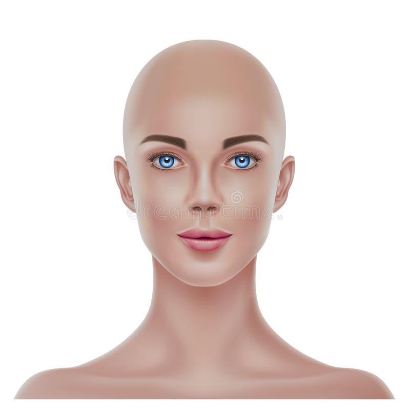 传染媒介现实秃头无毛的妇女画象3d 皇族释放例证