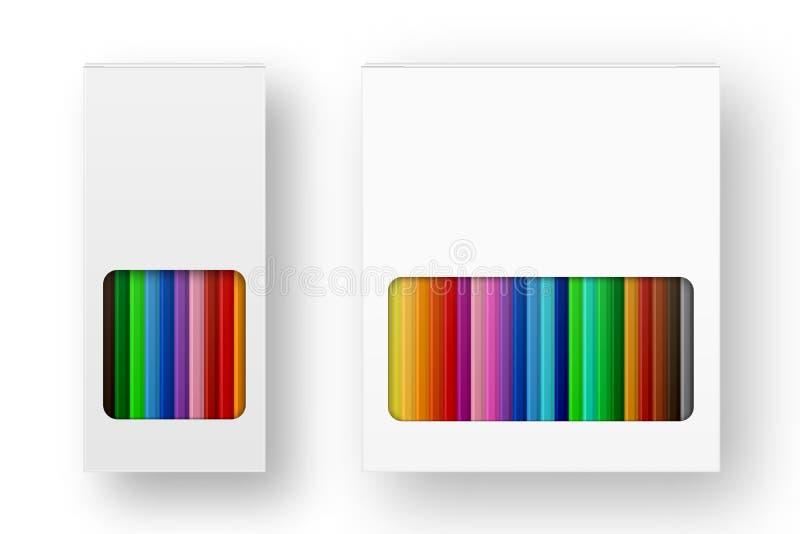 传染媒介现实箱在白色背景的色的铅笔象集合特写镜头 设计模板, clipart或 向量例证
