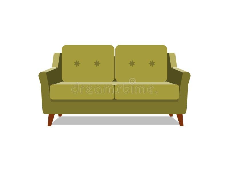 传染媒介现实绿色沙发有在背景 内部,昂贵和专属家具对象vip人的 库存例证