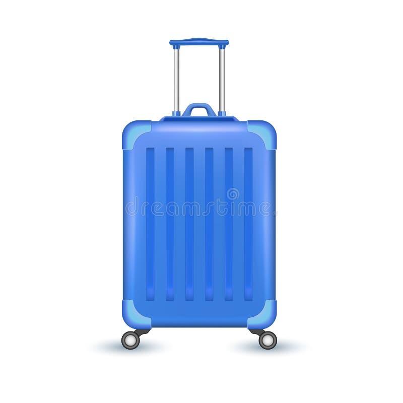 传染媒介现实蓝色旅行手提箱袋子假期 向量例证