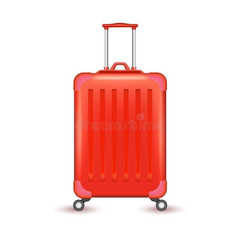 传染媒介现实蓝色旅行手提箱袋子假期 库存例证