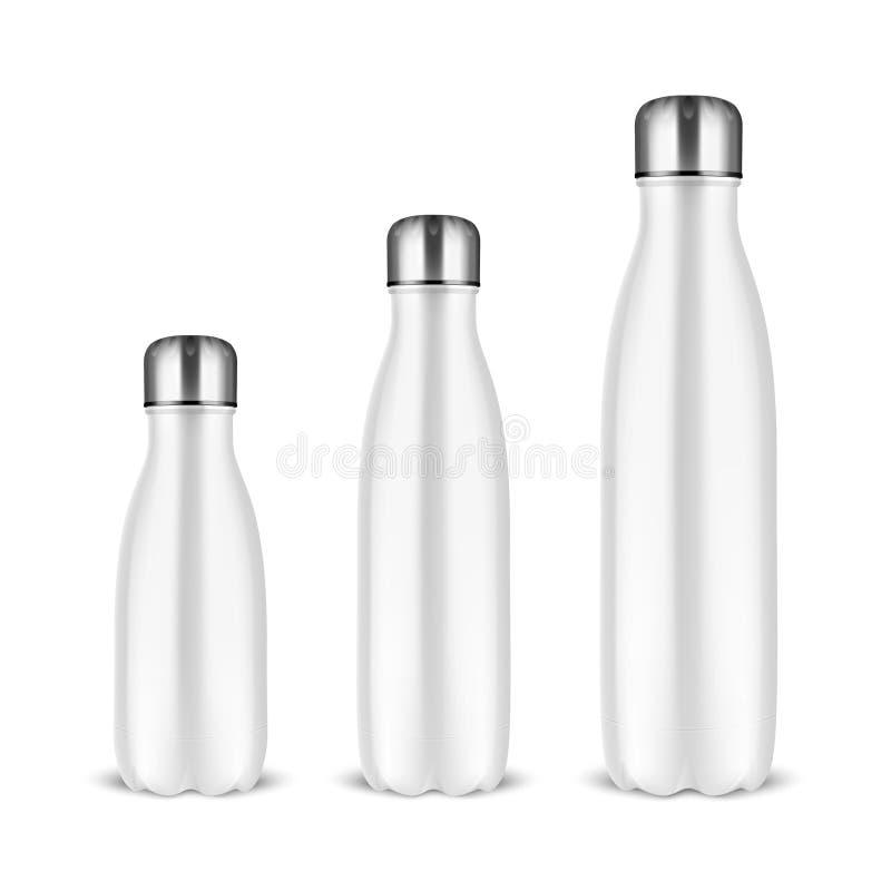 传染媒介现实3d白色空的光滑的金属可再用的水瓶设置与在白色背景的银色桶盖特写镜头 皇族释放例证
