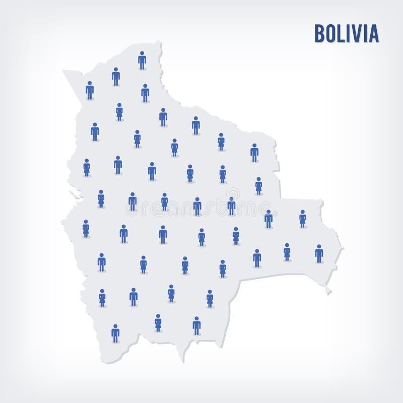 传染媒介玻利维亚的人地图 人口的概念 皇族释放例证
