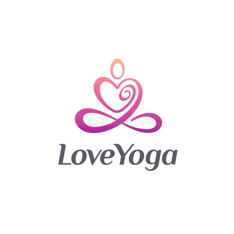 传染媒介瑜伽演播室的商标设计 爱瑜伽 向量例证