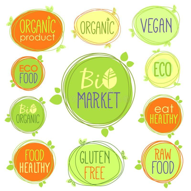 传染媒介生物象套标签、邮票或者贴纸与标志-生物市场,自由的面筋,有机产品,素食主义者,健康的食物,吃 向量例证