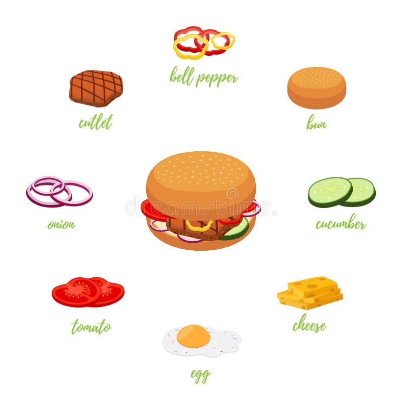 传染媒介用不同的成份的汉堡包菜单 汉堡建设者 皇族释放例证