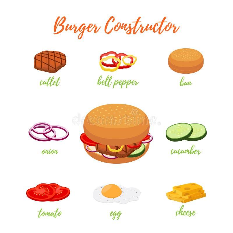 传染媒介用不同的成份的汉堡包菜单 汉堡建设者 库存例证