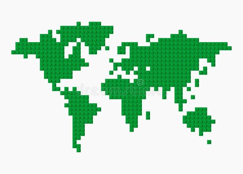 传染媒介由绿色塑料建筑块做的世界地图在透明背景 艺术被画的现有量例证n本质ure 库存例证