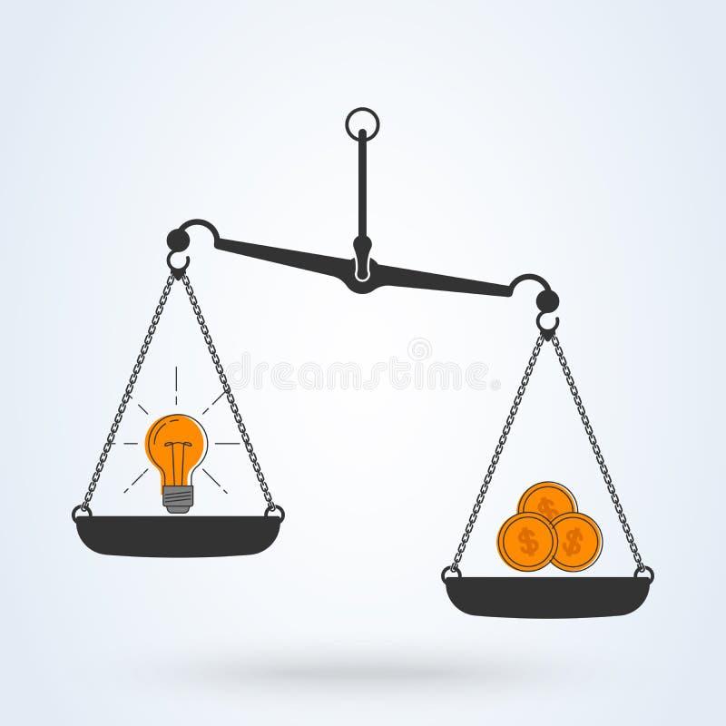 传染媒介电灯泡想法和金钱在标度颜色象 传染媒介平的线艺术设计企业概念 向量例证
