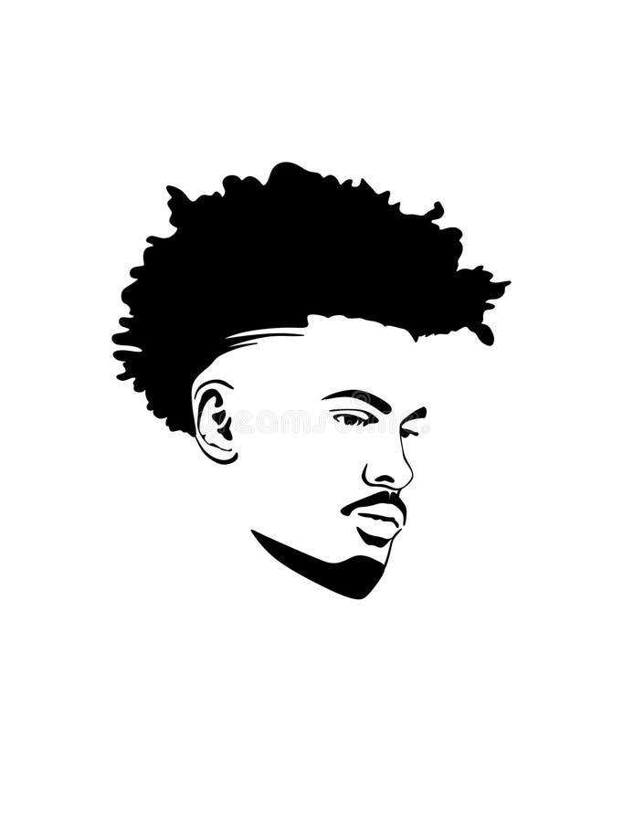 传染媒介男性顶头剪影 有卷曲莫霍克族头发的黑人非裔美国人的人 向量例证