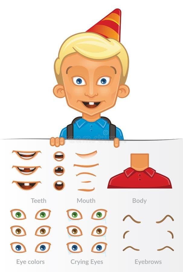 传染媒介白男孩,编辑可能的传染媒介集合文件的动画片例证 向量例证