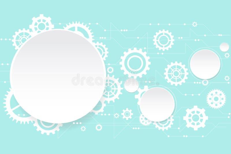 传染媒介白色圈子和齿轮在技术背景设计 皇族释放例证