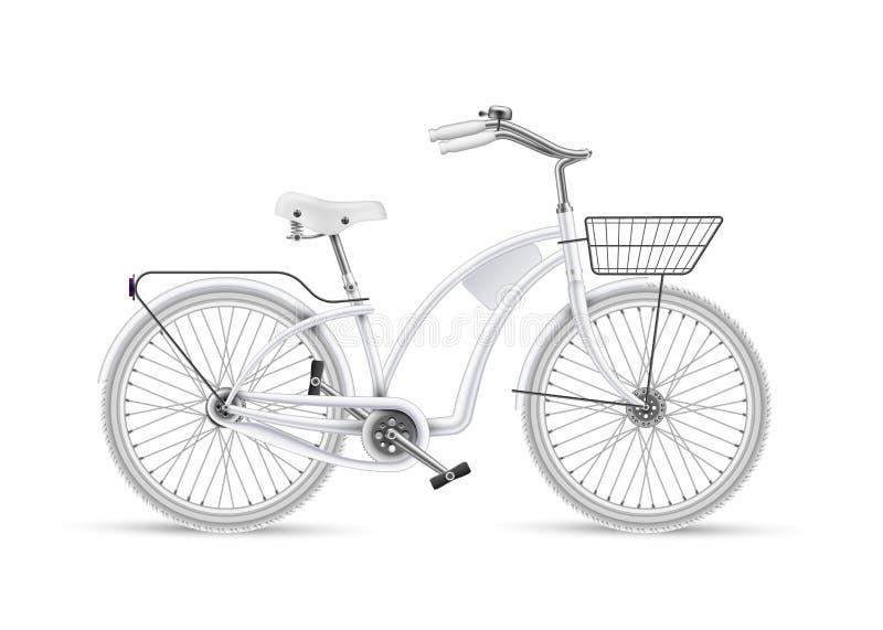 传染媒介白色自行车现实3d被隔绝的大模型 皇族释放例证