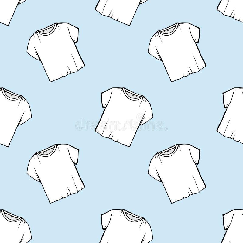 传染媒介白色T恤无缝的样式 洗衣店设计 清除干洗 包装 画的净白色T恤 蓝色backgrou 皇族释放例证