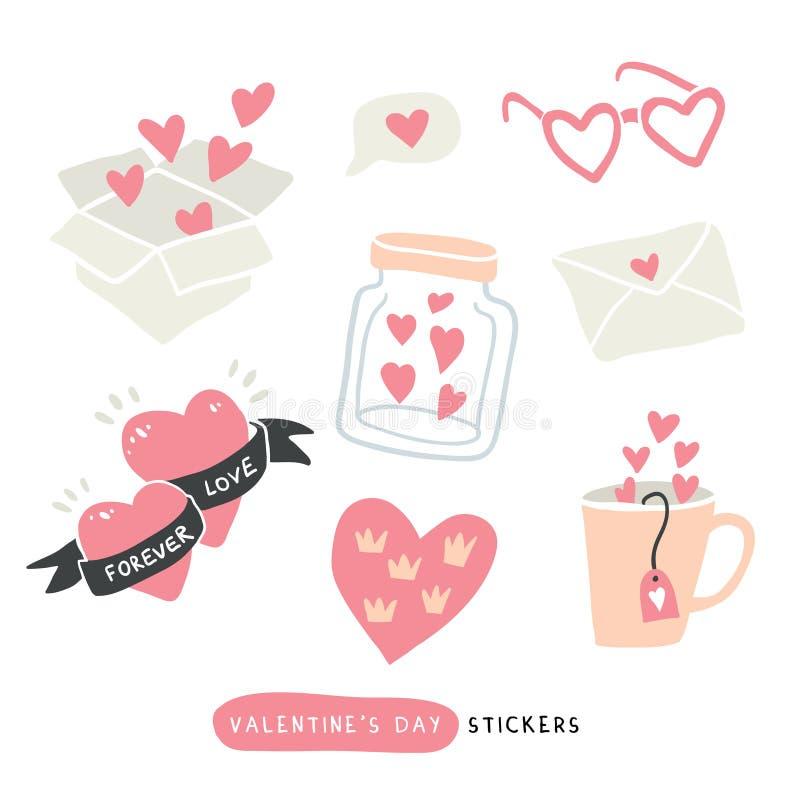 传染媒介盒与心脏的爱贴纸 向量例证