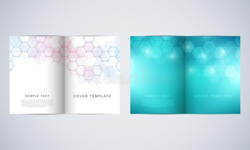 传染媒介盖子或小册子医学、科学和数字技术的 与六角形的几何抽象背景 向量例证