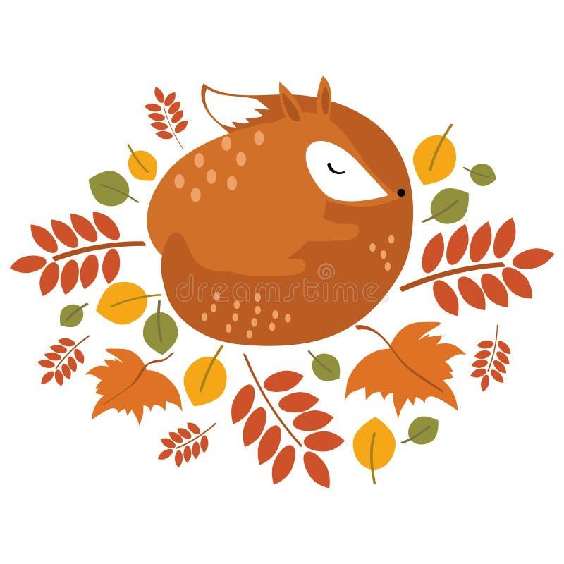 传染媒介睡觉在下落的叶子的被传统化的狐狸 在秋天的一只动画片狐狸 森林居民 儿童例证 皇族释放例证