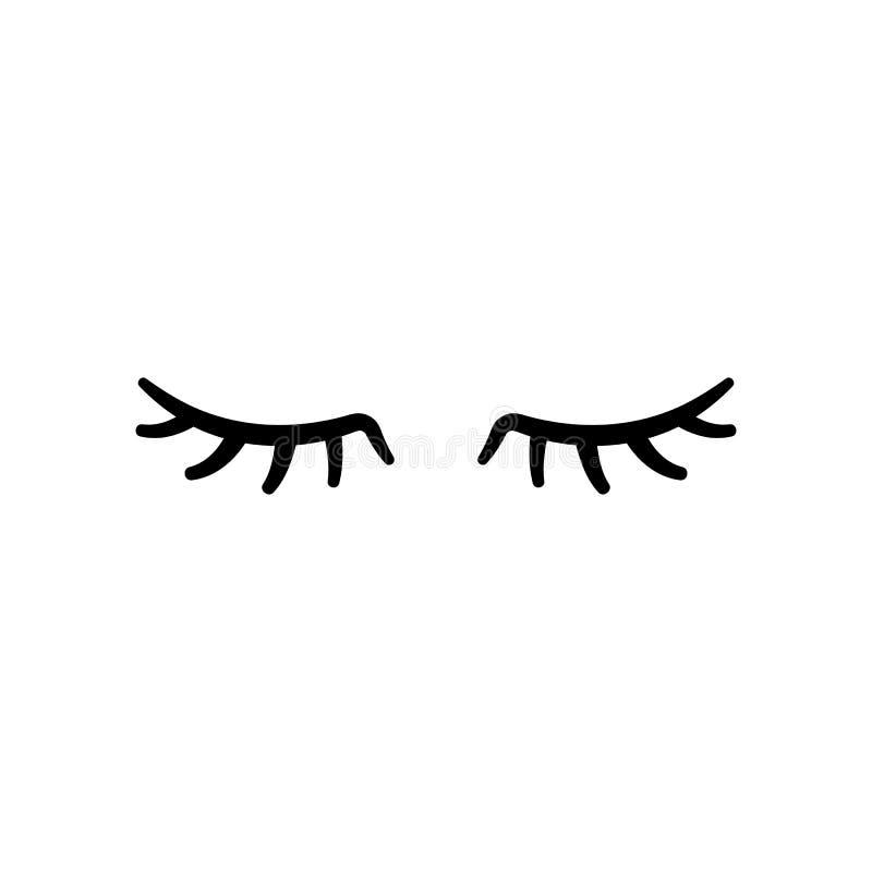 传染媒介睫毛 闭合的眼睛 适应图标 向量例证