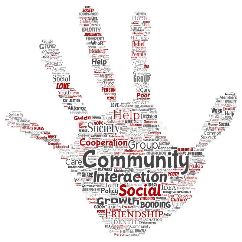 传染媒介社区,社会,连接手印刷品 向量例证
